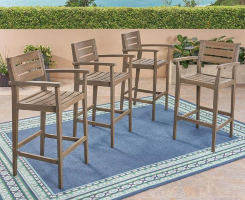 Stamford Wood Outdoor Bar Stool (4-Pack)