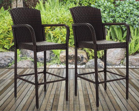 Rattan Wicker Outdoor Patio Bar Stool Armrest Dining High Counter Chair Furniture (2-Pack)
