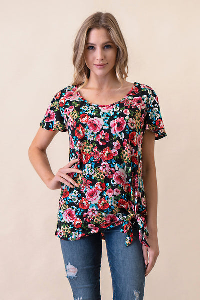ASH-BBA-CR3797 Fuchsia Flutter Sleeve Floral Knit Top with Side Tie (price per pack of 6)