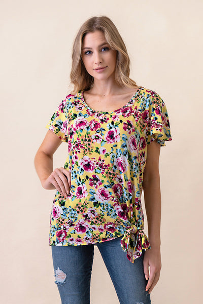 ASH-BBA-CR3797 Yellow Flutter Sleeve Floral Knit Top with Side Tie (price per pack of 6)