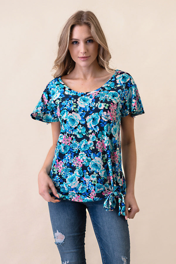 ASH-BBA-CR3797 Teal Flutter Sleeve Floral Knit Top with Side Tie (price per pack of 6)