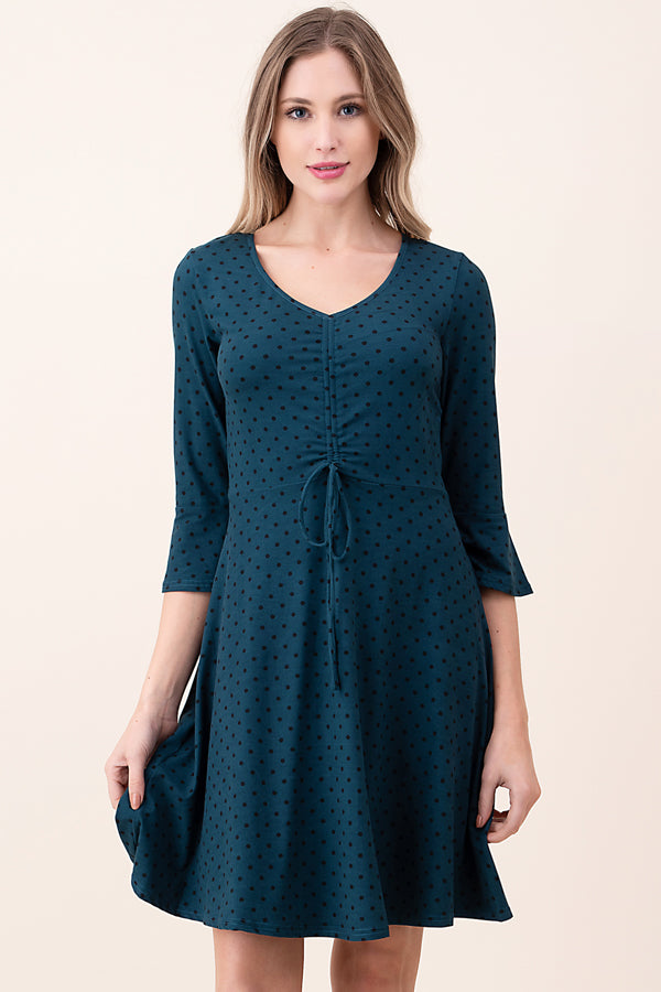 ASH-KOR-SDK1592 TEAL 3/4 SLEEVE POLKA DOT DRESS (price per pack of 6)
