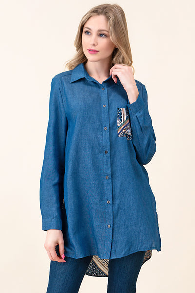 ASH-LLO-LV22647 DARK BLUE POCKET CONTRAST DENIM SHIRT (price per pack of 6)