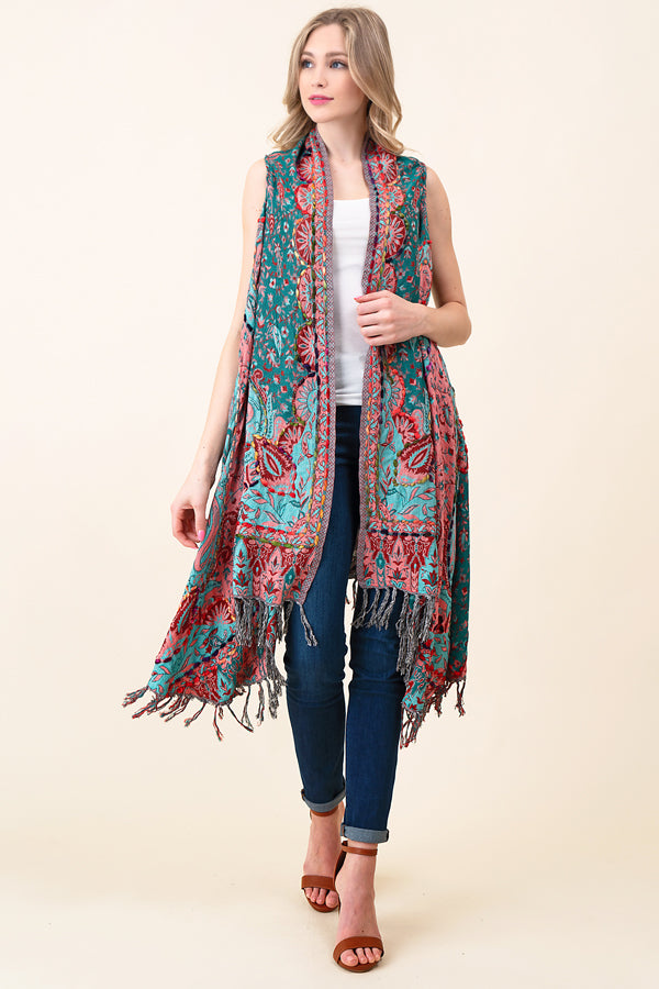 ASH-DAN-VE01000 GREEN/PEACH PAISLEY EMBROIDERED REVERSIBLE VEST WITH BOTTOM FRINGE (price per pack of 6)