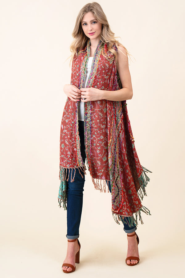 ASH-DAN-VE0817 TAUPE/ROSE PAISLEY EMBROIDERED REVERSIBLE VEST WITH BOTTOM FRINGE (price per pack of 6)
