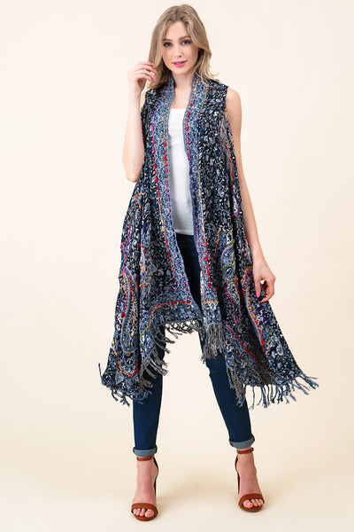 ASH-DAN-VE20321 BLACK/WHITE MUDRA PAISLEY EMBROIDERED REVERSIBLE VEST WITH BOTTOM FRINGE (price per pack of 6)