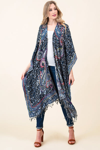 ASH-DAN-K101000 BLACK/NAVY FLORAL REVERSIBLE KIMONO WITH BOTTOM FRINGE (price per pack of 6)