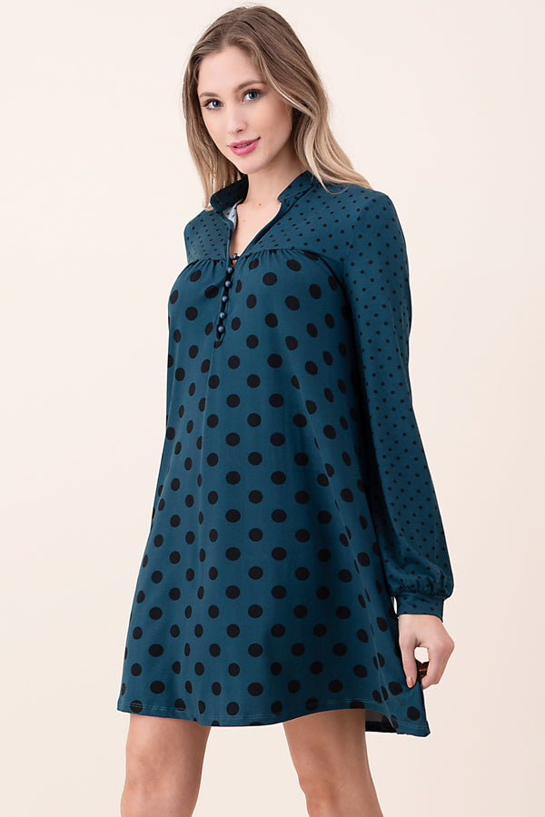 ASH-KOR-SDK1672 TEAL LONG SLEEVE POLKA DOT SWING DRESS (price per pack of 6)