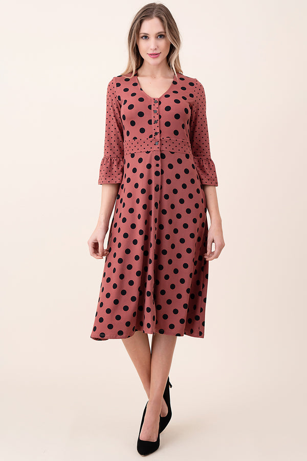 ASH-KOR-SDK1629 MAUVE 3/4 SLEEVE MIX POLKA DOT DRESS (price per pack of 6)