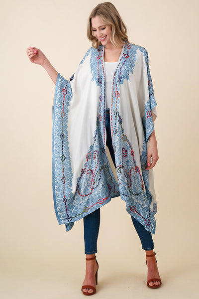 ASH-SOR-K102000 IVORY/BLUE REVERSIBLE EMBROIDERED KIMONO(price per pack of 6)
