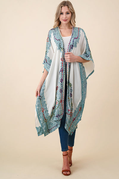 ASH-SOR-K102000 IVORY/GREEN REVERSIBLE EMBROIDERED KIMONO (price per pack of 6)