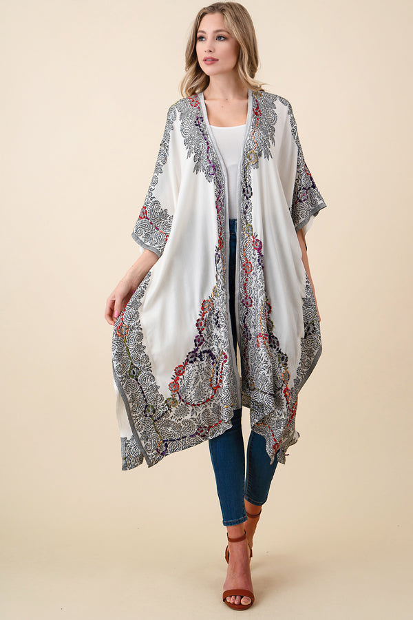 ASH-SOR-K102000 IVORY/BROWN REVERSIBLE EMBROIDERED KIMONO (price per pack of 6)