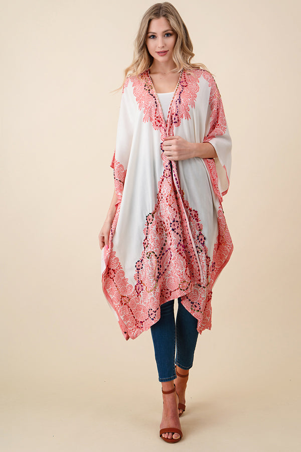 ASH-SOR-K102000 IVORY/PINK REVERSIBLE EMBROIDERED KIMONO (price per pack of 6)