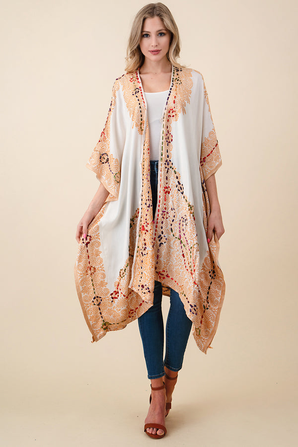 ASH-SOR-K102000 IVORY/GOLD REVERSIBLE EMBROIDERED KIMONO (price per pack of 6)