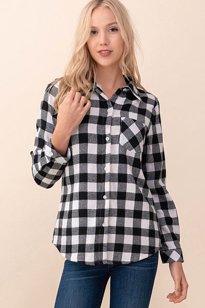 ASH-KOR-KR1001 WHITE/BLACK L/S FLANNEL PLAID SHIRT W/ LINED FUR (Price per pack of 6)