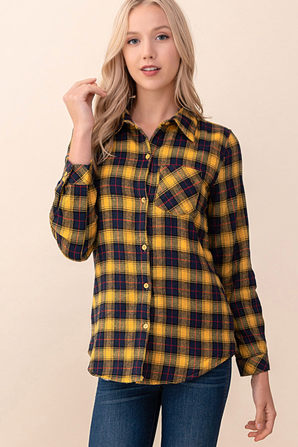 ASH-KOR-KR1001 MUSTARD L/S FLANNEL PLAID SHIRT W/ LINED FUR (Price per pack of 6)