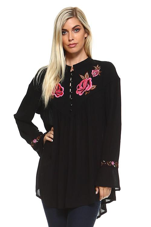 LOL-E2N74-ASIS BLACK L/S SOLID TUNIC W/ FLORAL EMBROIDERY (Price per pack of 6)