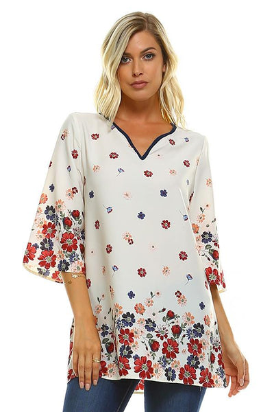 RIC-YY-YT9736A IVORY 3/4 SLVS FLORAL WOVEN TOP (price per pack of 6)