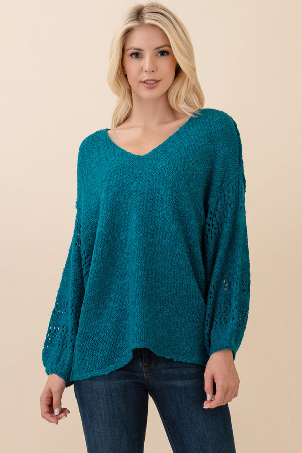 RIC-LLO-LV20993 SEA GREEN 3/4 SLEEVE V-NECK SWEATER (price per pack of 6)