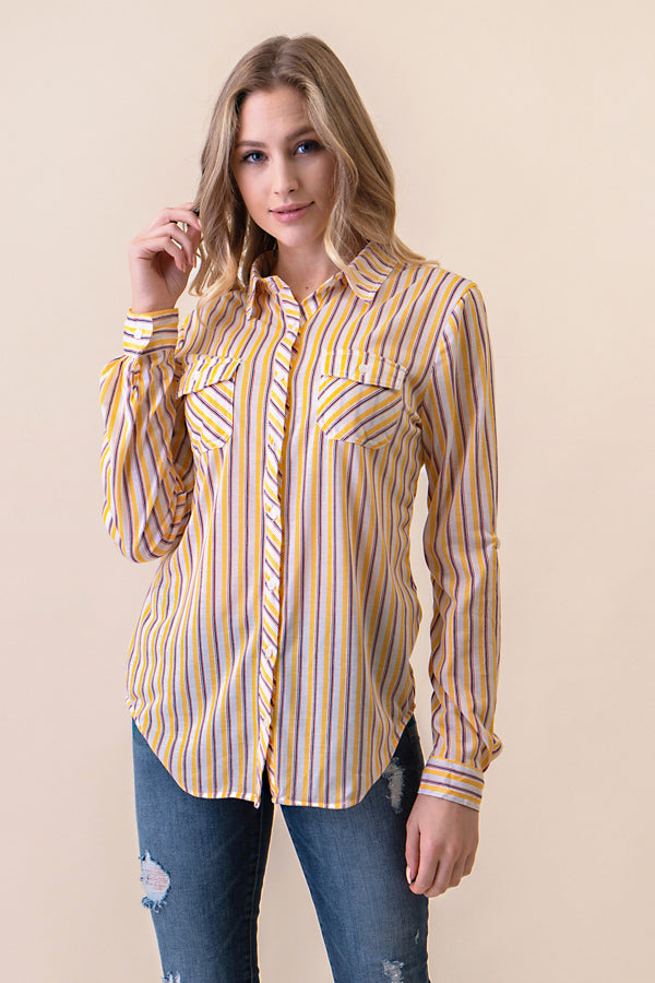 ASH-FC-B1324 Ivory/Navy/Yellow Long Sleeves 2-Pocket Stripe Button Down Shirt (Price per pack of 6)