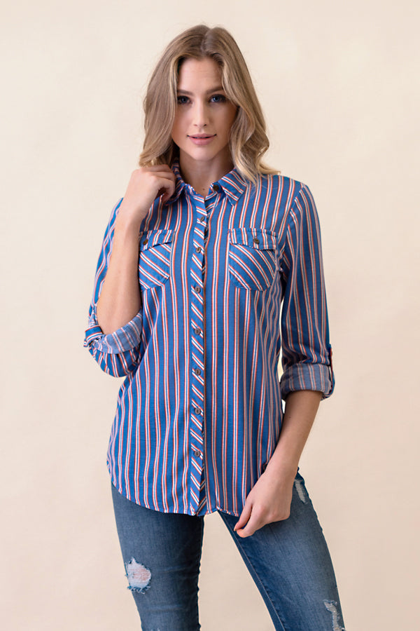 ASH-FC-B1324 French Blue/Coral Long Sleeves 2-Pocket Stripe Button Down Shirt (Price per pack of 6)