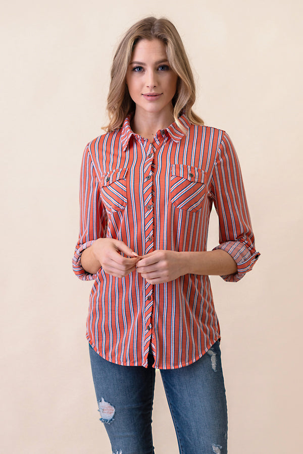ASH-FC-B1324 Coral Reef/Lt. Blue Long Sleeves 2-Pocket Stripe Button Down Shirt (Price per pack of 6)