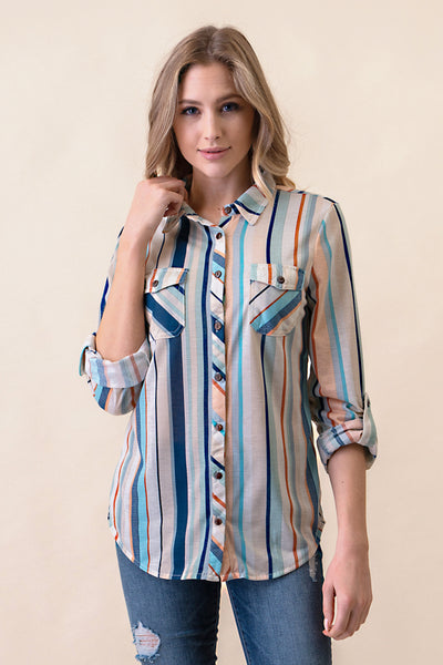 RIC-FC-B1324 Ivory/Navy/Aqua Long Sleeves 2-Pocket Stripe Button Down Shirt (Price per pack of 6)