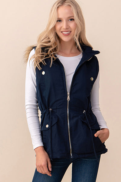 RIC-SOR-SOP5788 NAVY DETACHABLE HOODIE 6-BUTTON POCKET FAUX FUR VEST (Price per pack of 6)