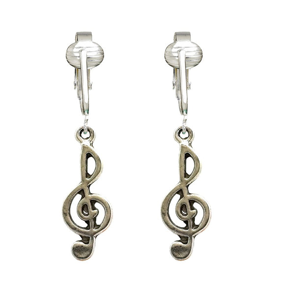 Silver & Gold Music Clip On Earrings-Clip On Music Note Earrings, Music Note Earrings Clip On Treble Clef