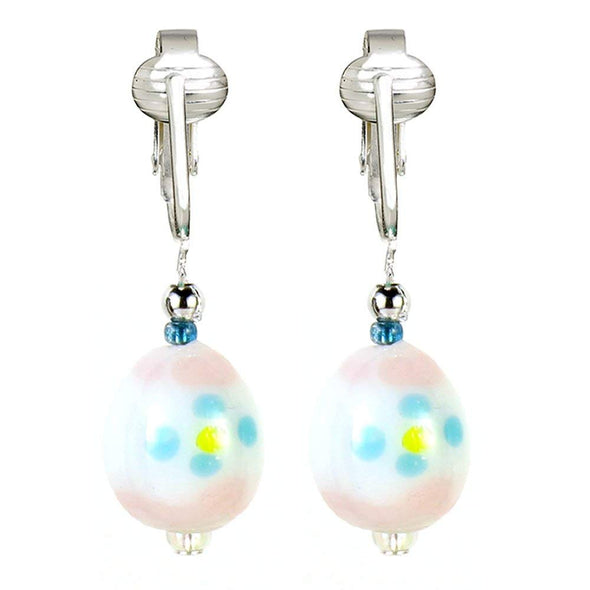 Designer Easter Clip Earrings for Women w Unpierced Ears, Lampwork Glass Dangle Easter Eggs & Jellybeans