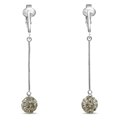 Dazzling CZ Clip On Earrings for Women- Cubic Zirconia Crystal Clip Earrings Sparkle Nonpiercing Earrings (Silver Sparkle CZ Dangle)