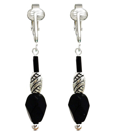 Art Deco Stylish Black Clip On Earrings, Designer Set of 2, French Briolette & Modern Dangle, Non-pierced