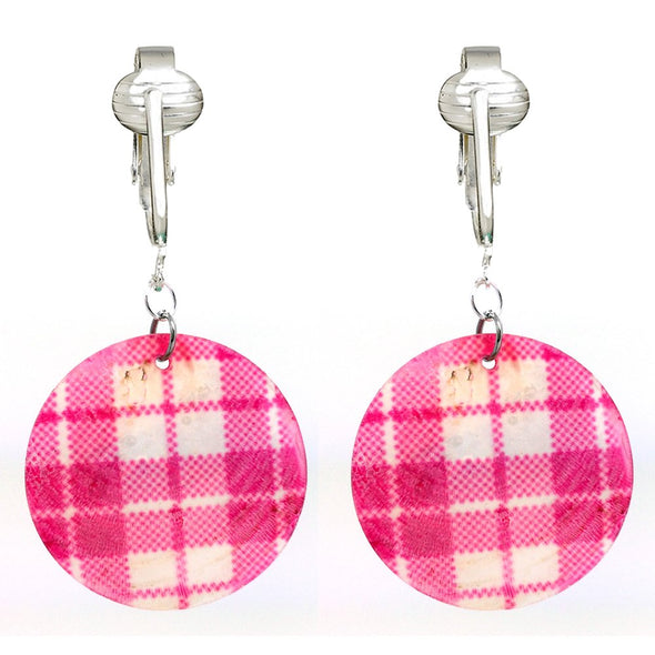 Lovely & Lightweight Authentic Capiz Shell Clip On Earrings-Silver-Plated Comfort Clips for Unpierced Ear, Pink, Yellow & Brown (Pink)