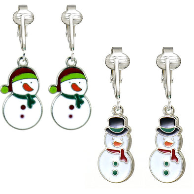 Fun Christmas Clip-on Earrings for Girls, Kids-Winter Snowflake, Skates, Hats n Mittens, Snowman, Penguin