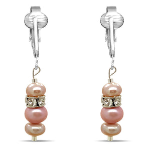Aloha Earrings Cultured 6-8 mm Pink & Lavender Freshwater Pearl Dangle Earrings w/CZ