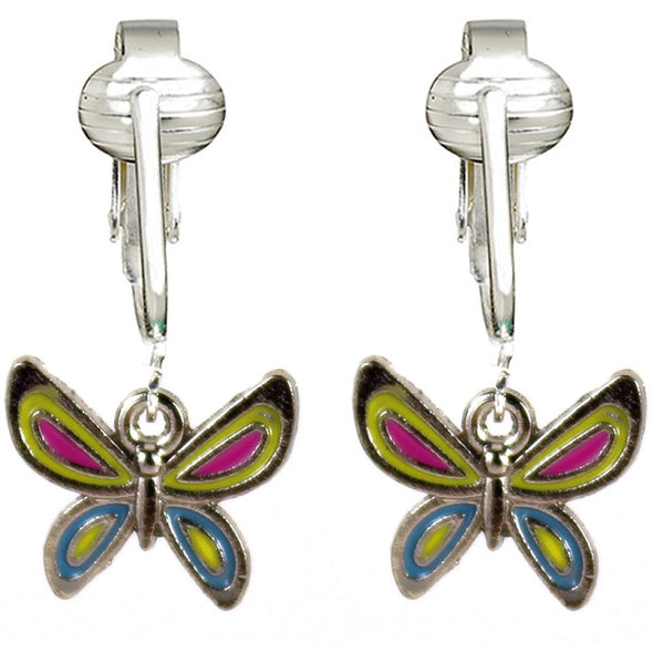 Butterfly Clip Earrings, Dragonfly Clip On Earrings, Butterfly Clip On Earrings for Women, Girls, Clip Earrings for Kids (Butterflies, Set of Two)