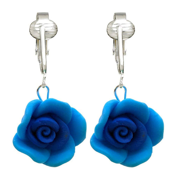 Beautiful Pink, Yellow, Blue, Purple Rose Clip-on Earrings for Women, Girls-Handcrafted Clay Flowers Clip