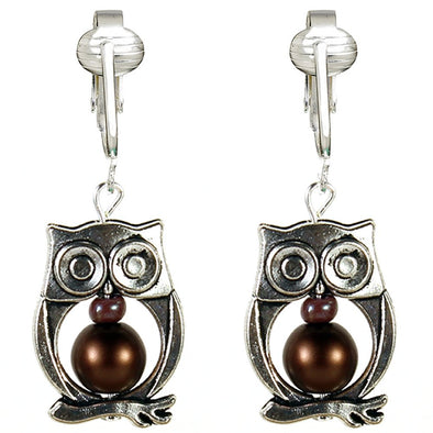 Silver Owl Clip On Earrings-Owl Earrings Clip On-Clip On Owl Earrings for Kids, Girls, Women Clip-on