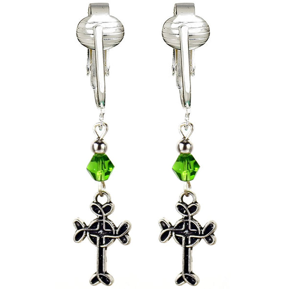 Irish Clip Earrings for Women, St Patrick's Clip-on Earrings, Lucky Clover, Celtic Cross, Shamrock Dangle