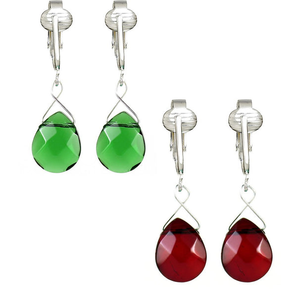 Beautiful Glass Briolette Clip On Earrings for Women, Girls-Petite Dangle, French Style, Unpierced Ears