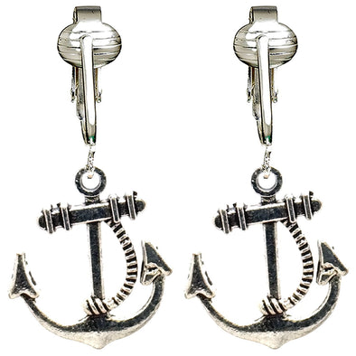 Nautical Silver Clip-On Earrings for Women & Girls, Hawaiian Charms-Anchor, Pineapple, Palm Tree, Ocean (Ocean Anchors)