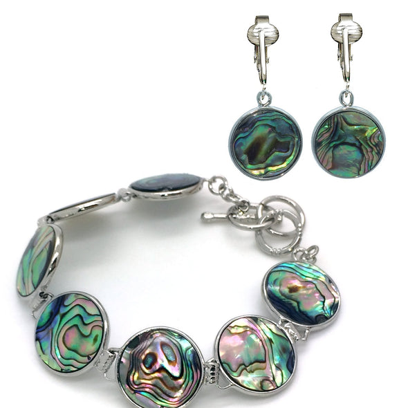 Aloha Earrings Tahitian-Style Abalone Paua Shell Clip On Earrings-Authentic Ocean Shells Romantic Holiday, Authentic