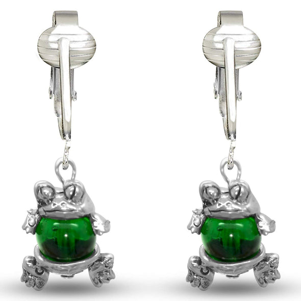 Cute Green Frog Clip On Earrings for Girls, Kids, Ladies- Green Glass Beaded Unpierced w Pierced Look