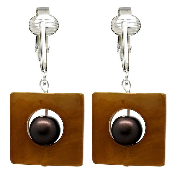 Lovely Brown Clip On Earrings for Women, Glass, Mother-of-Pearl Earrings, Unpierced Clip Jewelry Dangle