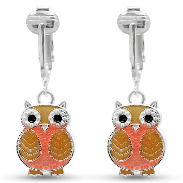 Aloha Earrings Sparkle Fun Owl Clip On Earrings for Women-Glitter Sparkling Cute Birthday Gift Non-pierced Ear