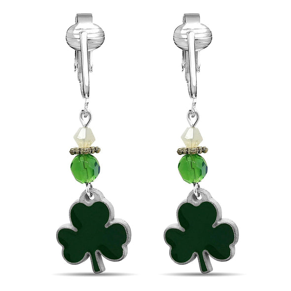 Aloha Earrings Irish Clip Earrings for Women, St Patrick's Clip-on Earrings, Lucky Clover, Celtic Cross, Shamrock Dangle (Lucky Clover Dangle)
