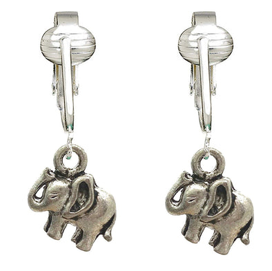 Fun Silver Elephant Clip On Earrings-Clip On Elephant Earrings-Sparkle Clip On Earrings Elephant Kids