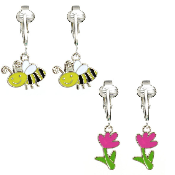 Aloha Earrings Bright & Fun Clip On Earrings for Women w Un-pierced Ears, Flowers, Bees, Ladybug, Sparkle Clip Earrings