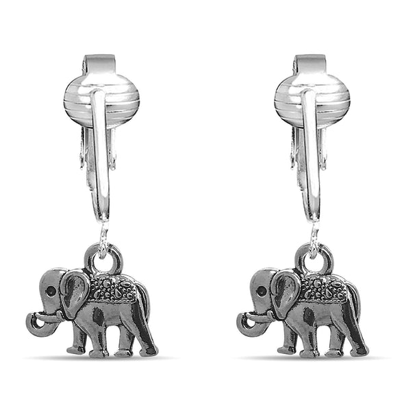 Aloha Earrings Fun Silver Elephant Clip On Earrings-Clip On Elephant Earrings-Sparkle Clip On Earrings Elephant Teens