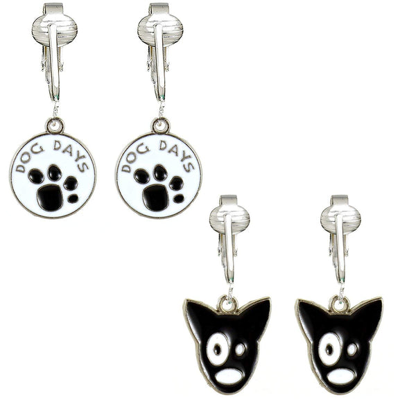 Darling Dog Clip On Earrings for Girls, Kids- Black Dog, Paws, Woof, Bone Animal Lover Clip Unpierced Ear